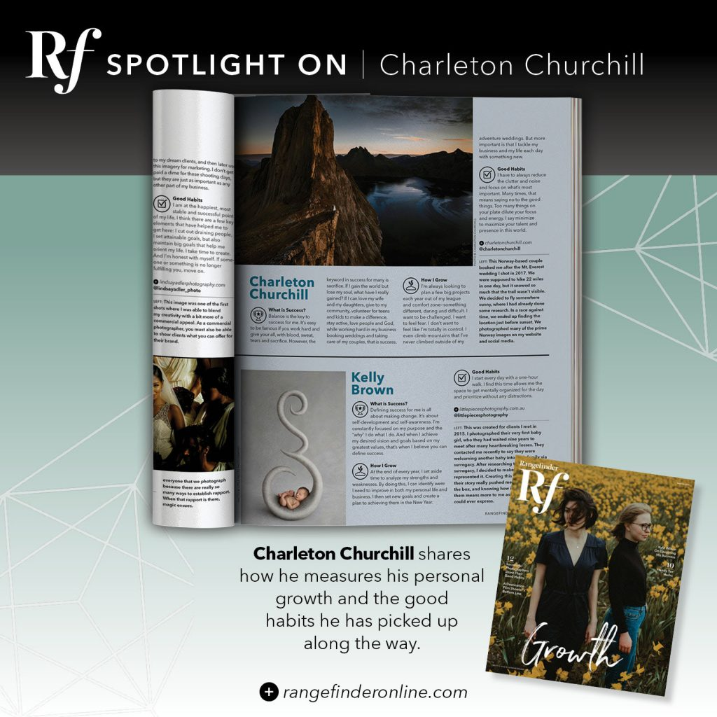 magazine feature of adventure wedding photographer charleton churchill on success photography career