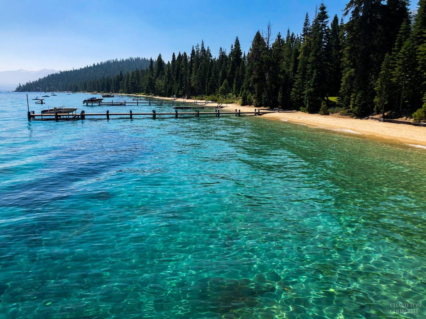 green and blue water of tahoe west beach