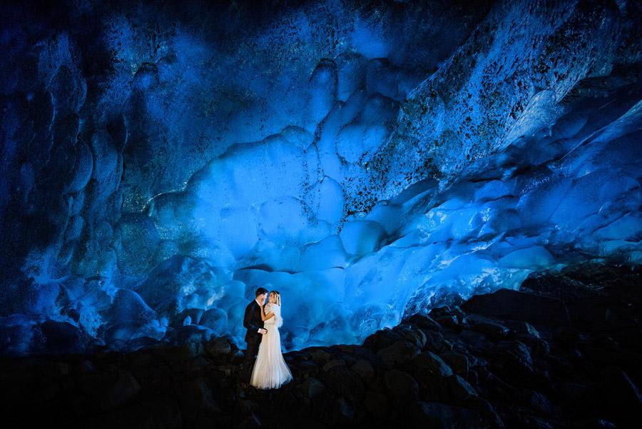 Ice cave adventure wedding photos alaska glacier by photographer Charleton Churchill