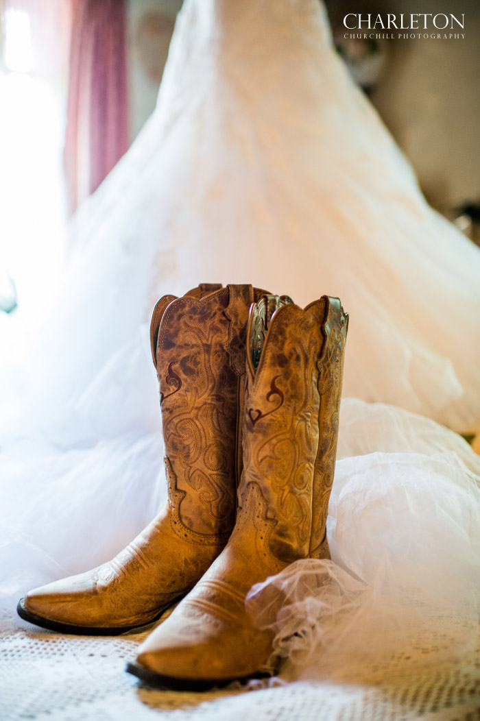 country western boots at rustic wedding