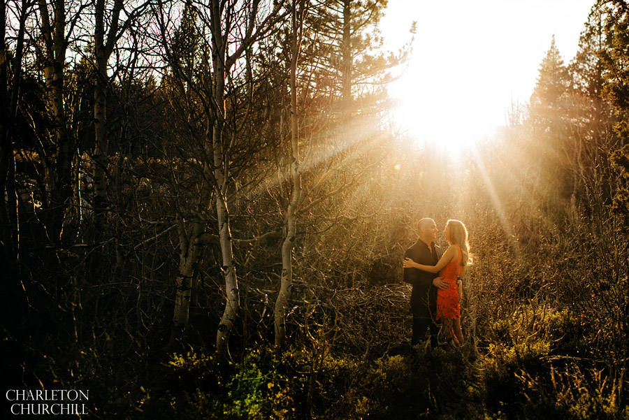 outdoors sunset engagement photos
