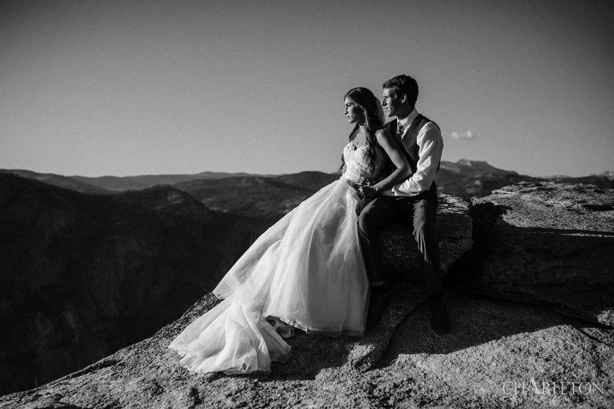 eloping couple on taft point hiking for wedding photos