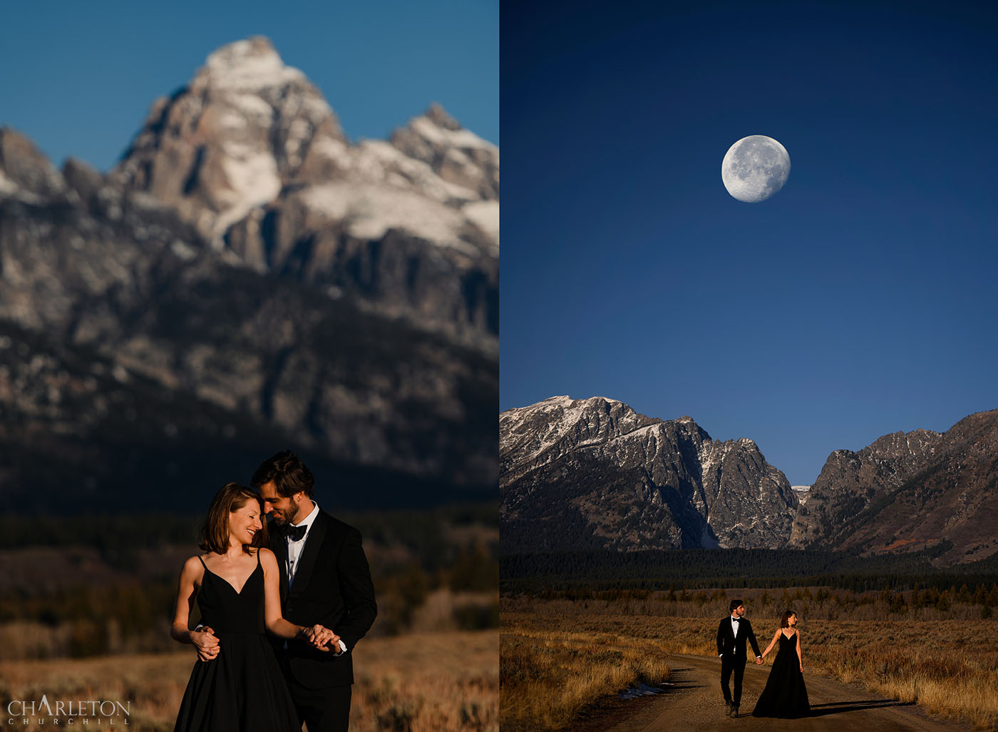 grand teton national park elopement photographer with a moon and mountains behind