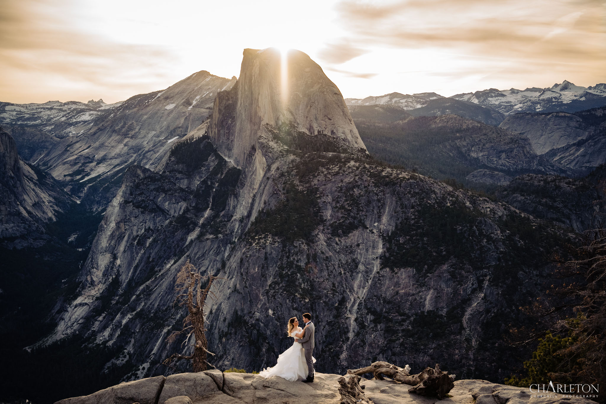Yosemite elopement photographer at glacier point with half-dome during sunrise
