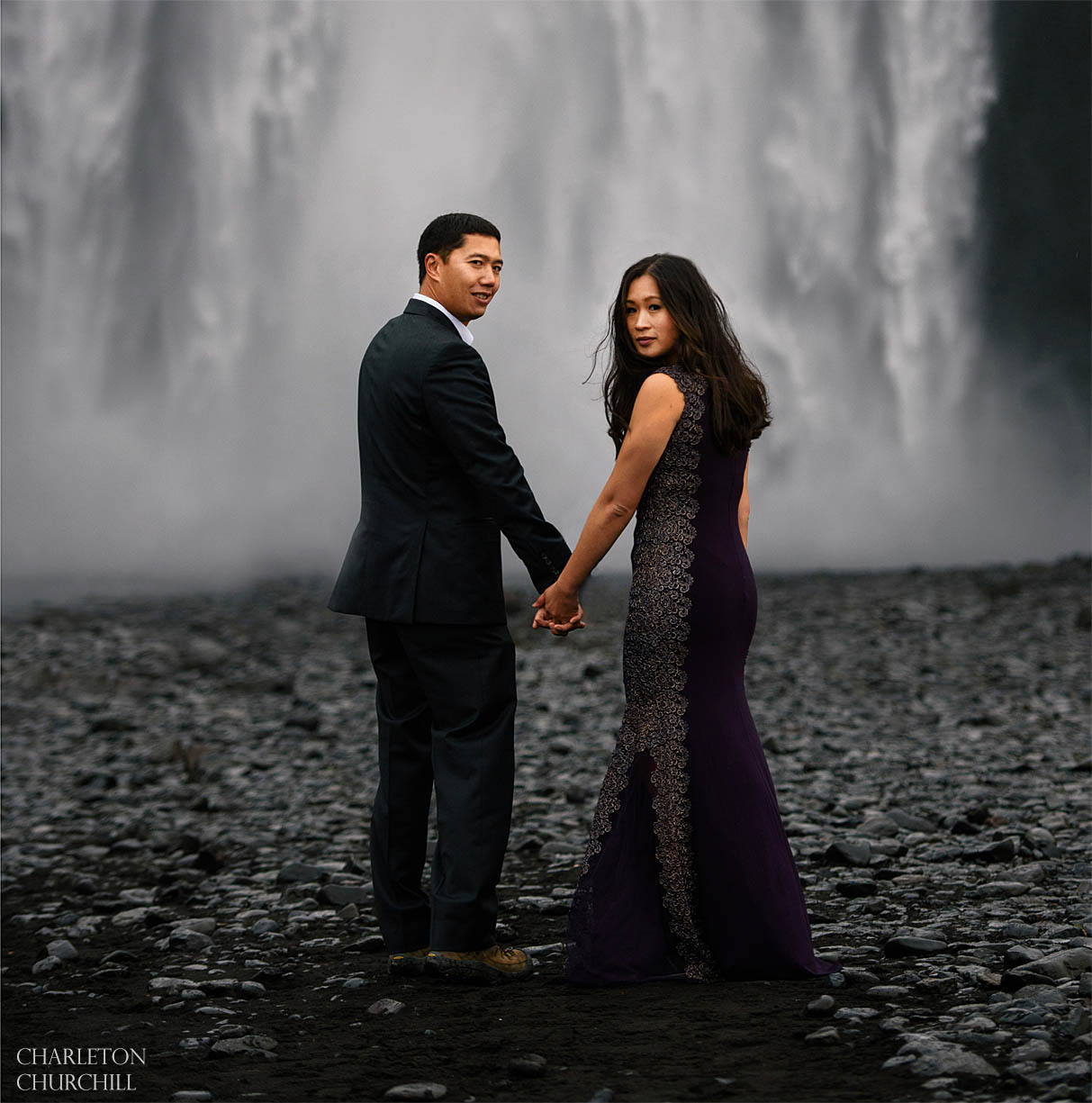 Skogafoss waterfall adventure elopement photo session