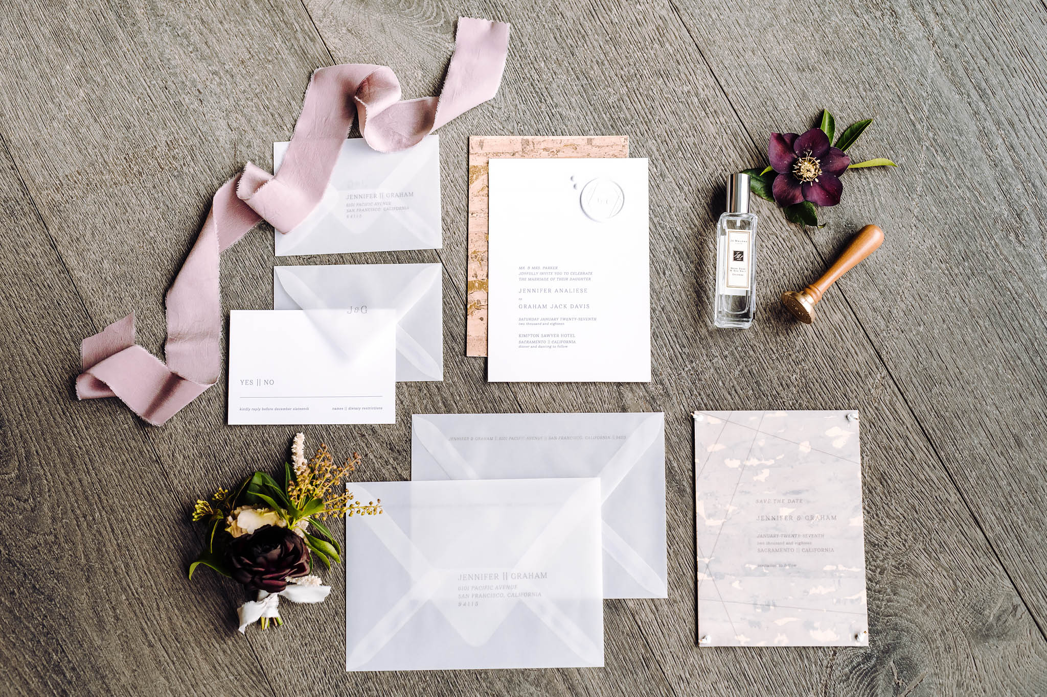 wedding invitations styled for photography