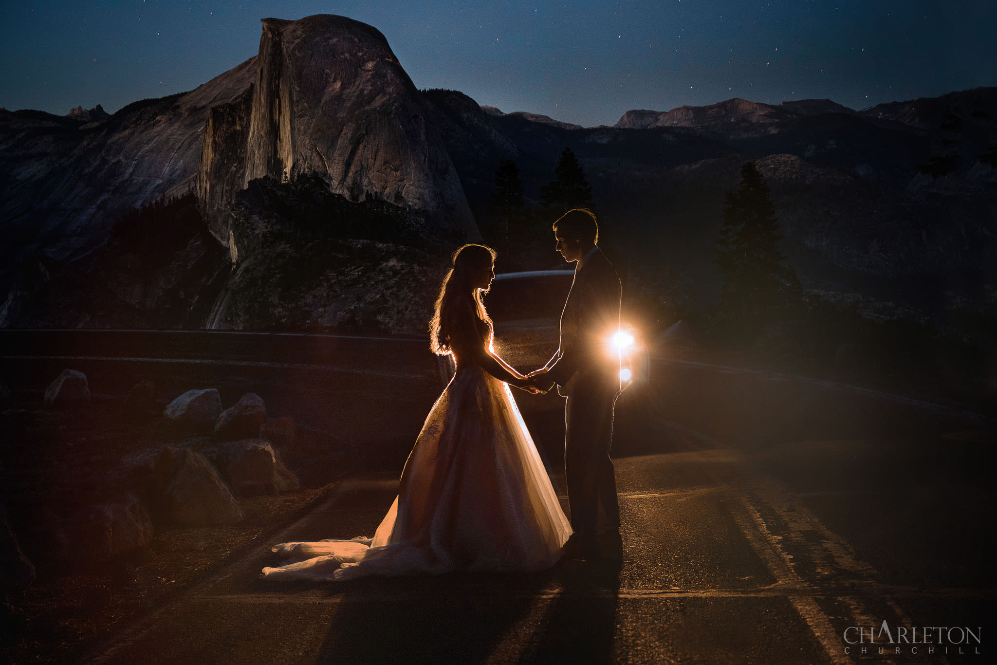 yosemite elopement creative night with stars and car headlights by photographer charleton churchill