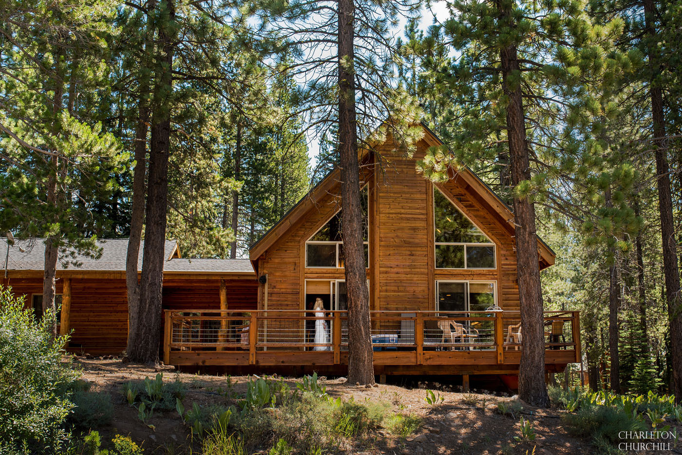 rustic tahoe cabin in the woods with bride getting ready to marry in truckee lodge