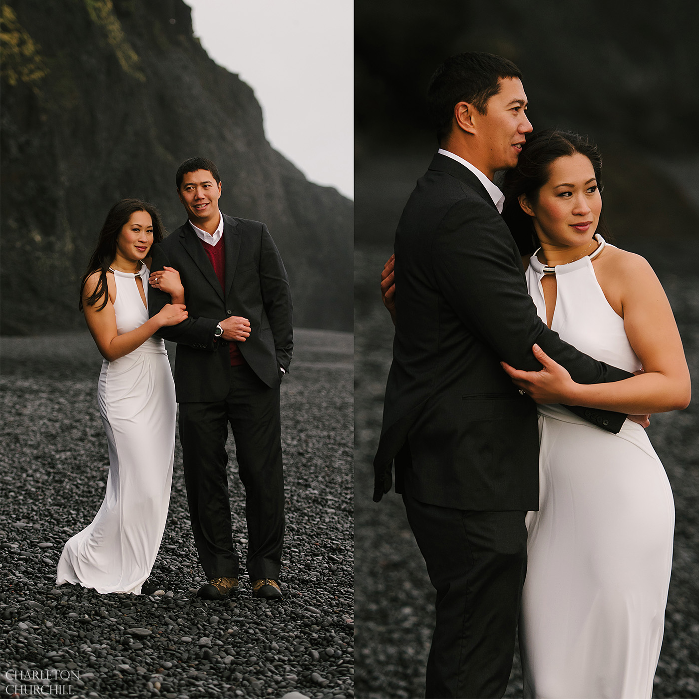 engagement photos at Black Sand Beach Reynisfjara Iceland