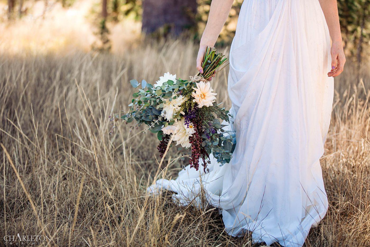 kirkwood ca. wedding bouquet in the field summer