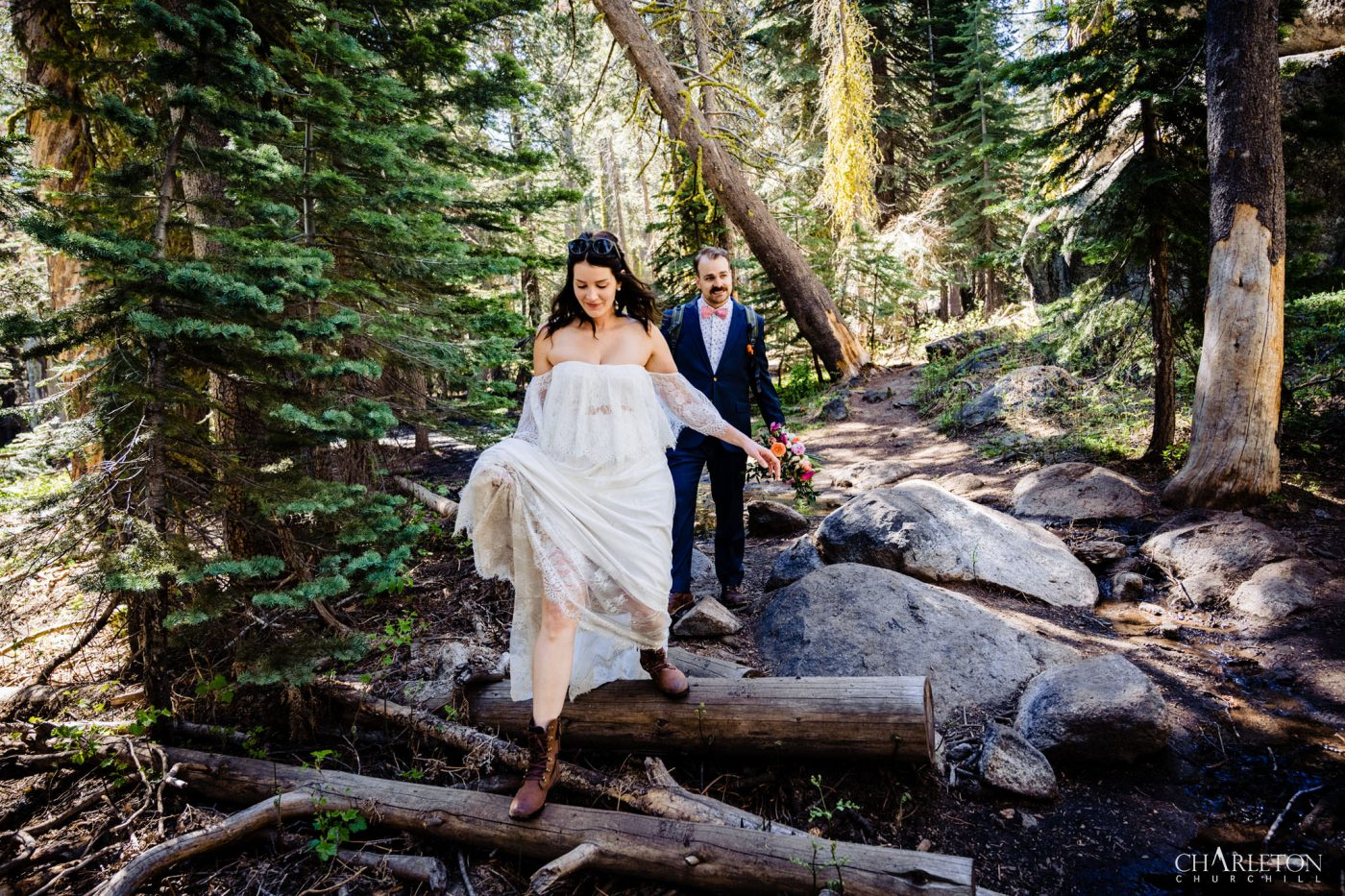 hiking wedding couple adventuring in the National Park Yosemite
