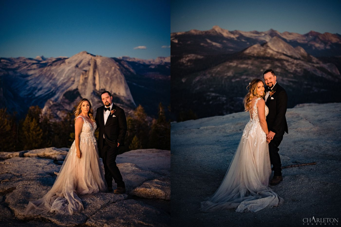 yosemite elopement with half-dome and sentinel dome after sunset