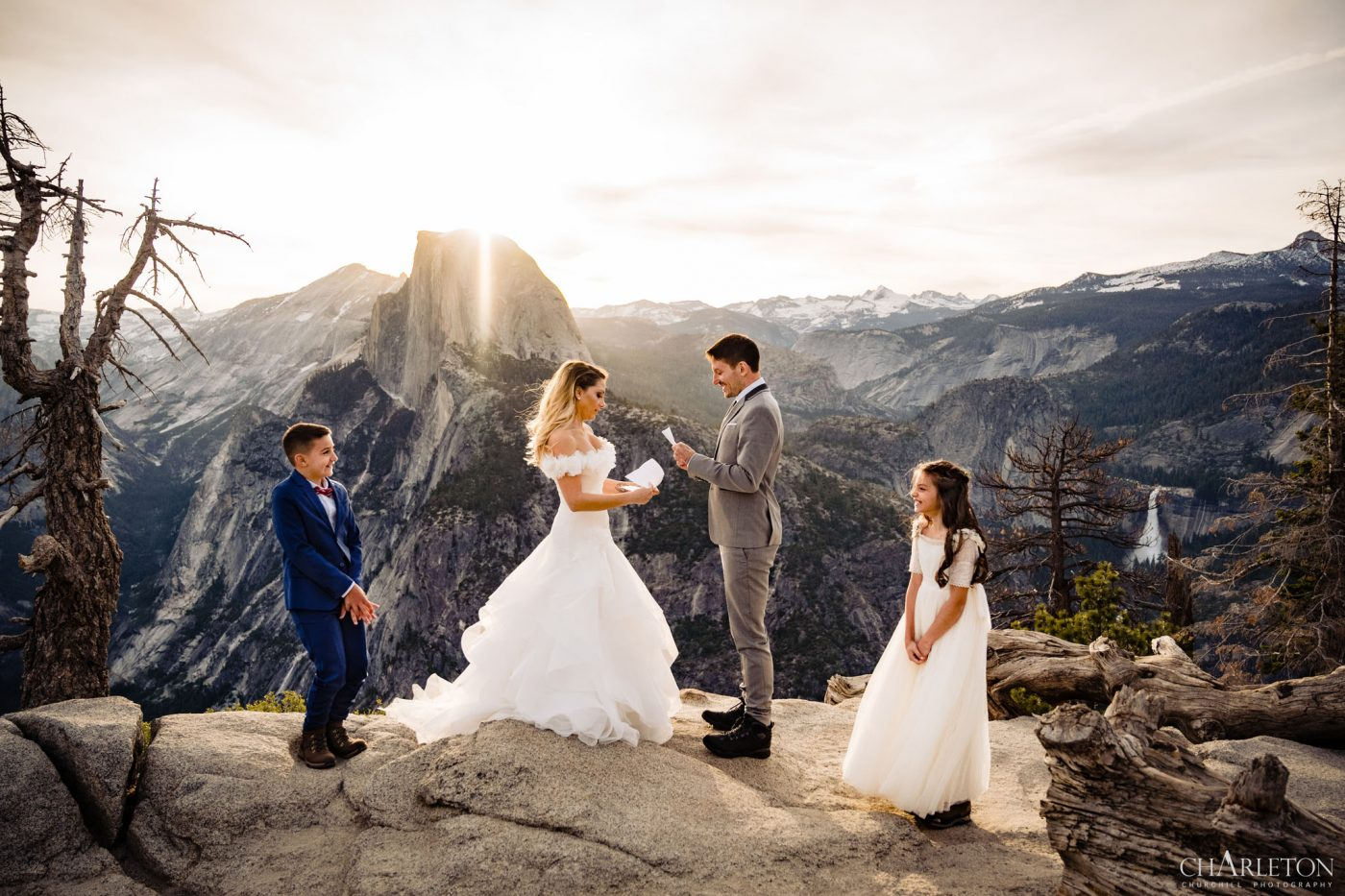 family yosemite elopement sunrise at glacier point