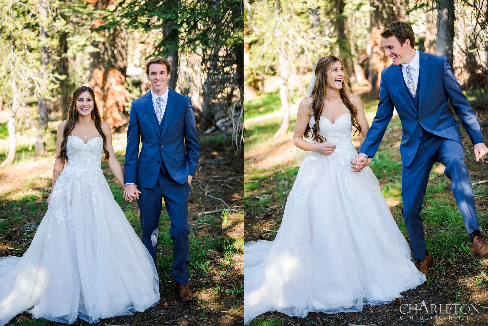 yosemite trail hiker couple in a wedding dress and suit