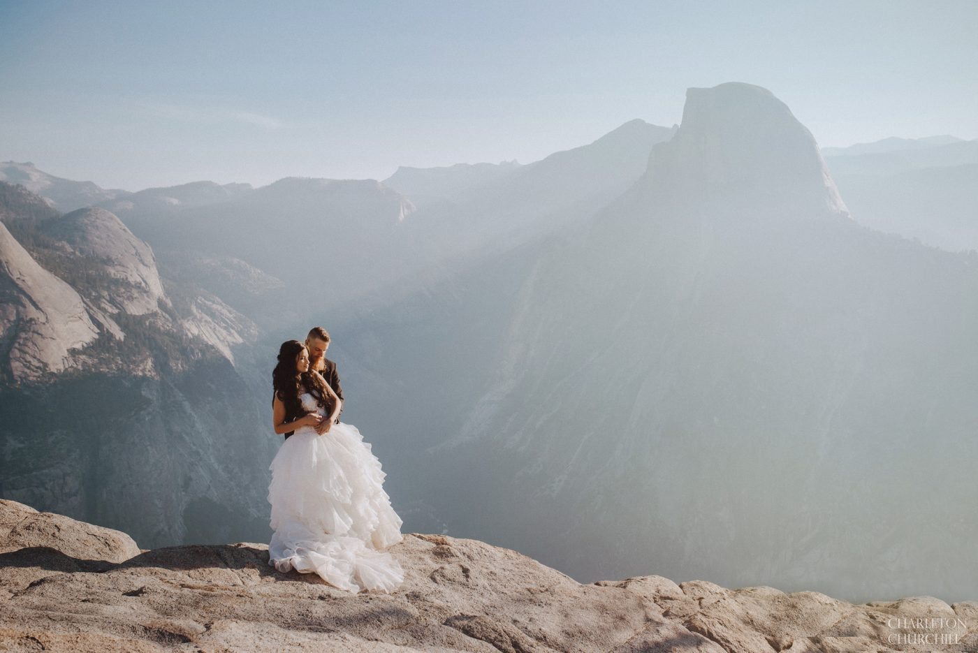 Yosemite wedding at glacier point with sun rays