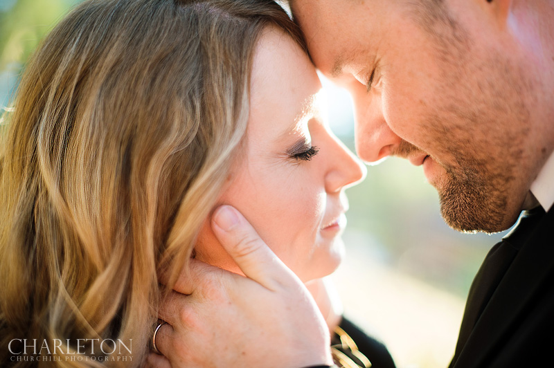 sunlit photos of bride and groom