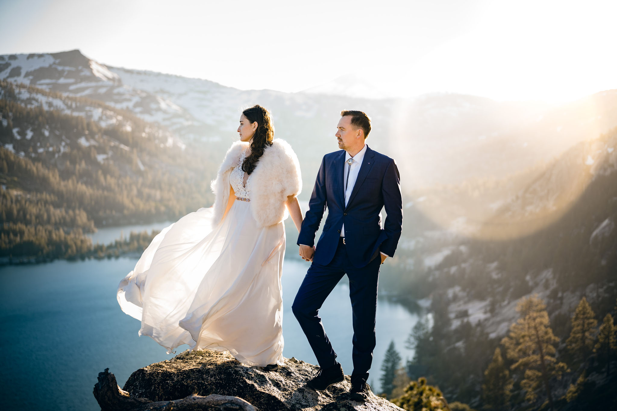 south lake tahoe wedding photographer overlooking mountains