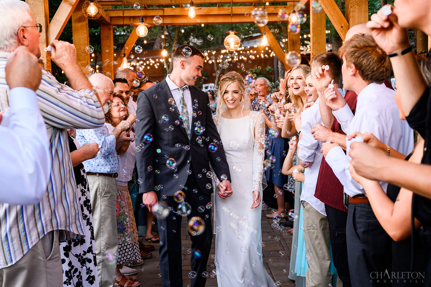 gardens at sutter creek wedding with bubble send off by photographer charleton churchill amador county