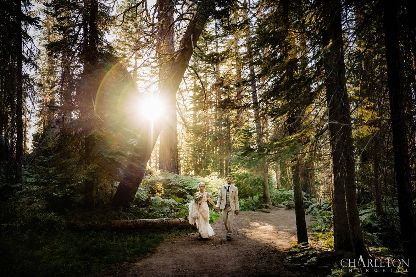 yosemite wedding couple hiking in wilderness