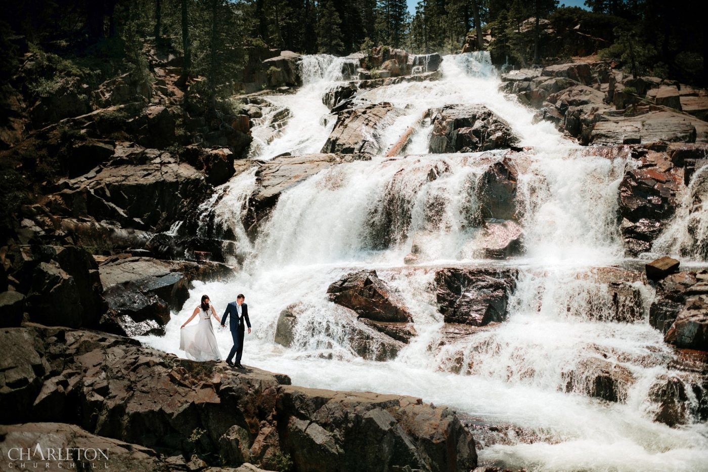 lake tahoe waterfalls wedding photography