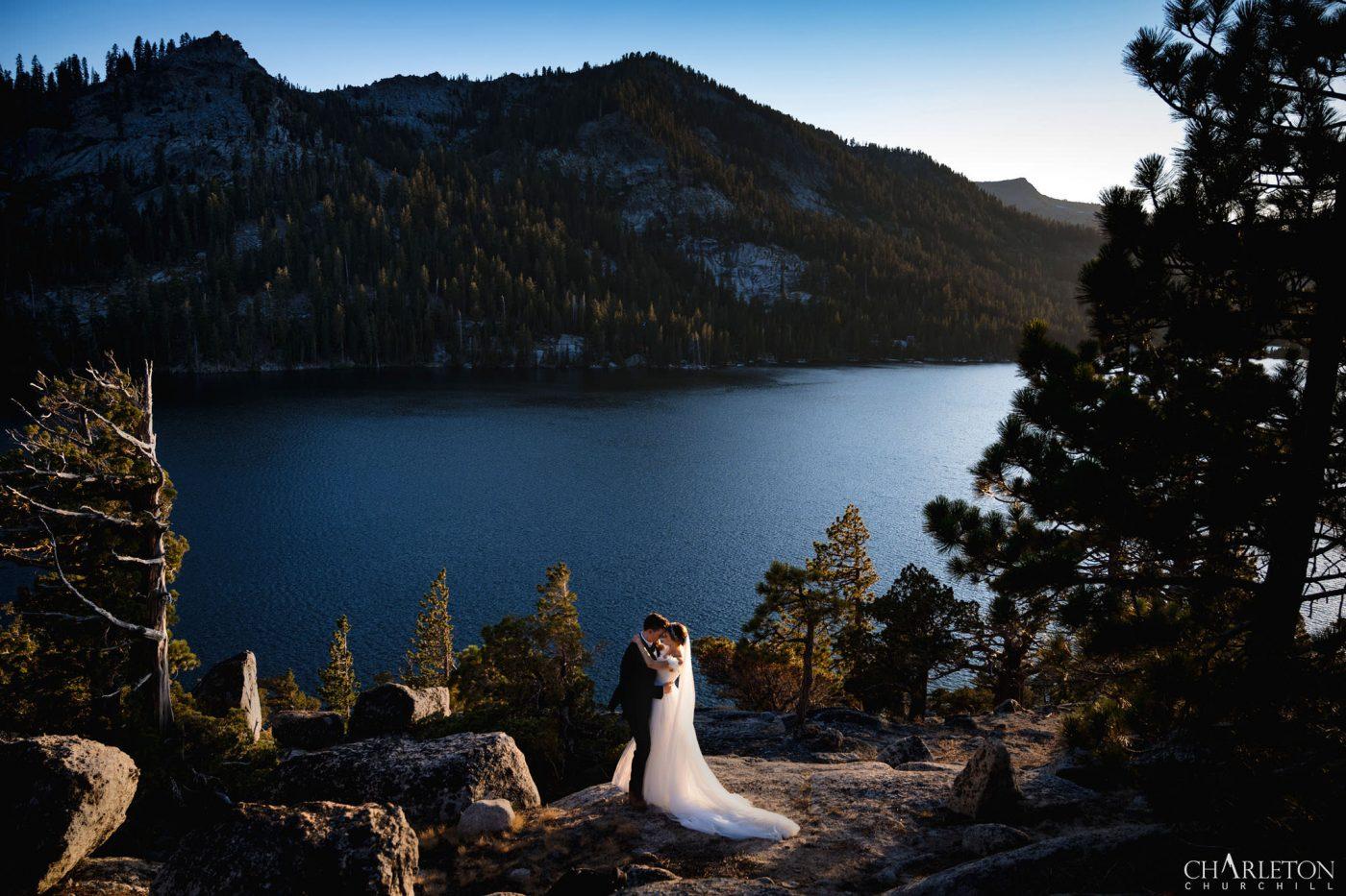 lake tahoe adventure photographer session on granite mountain peak for epic wedding photos