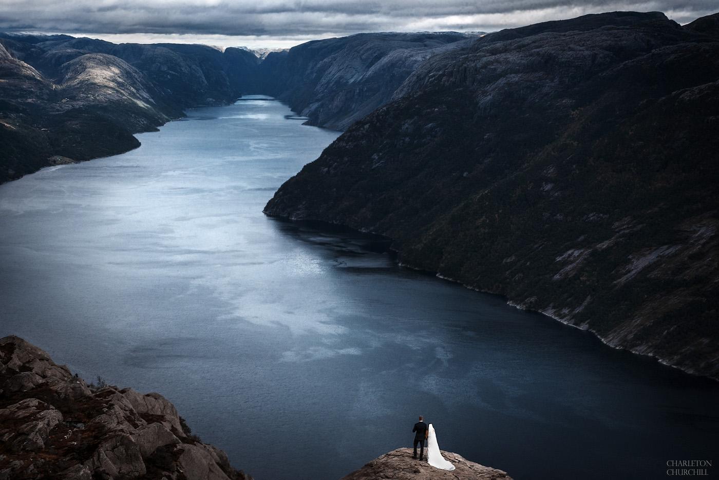 lysefjord Preikestolen wedding photos adventure elopement hiking out for destination wedding