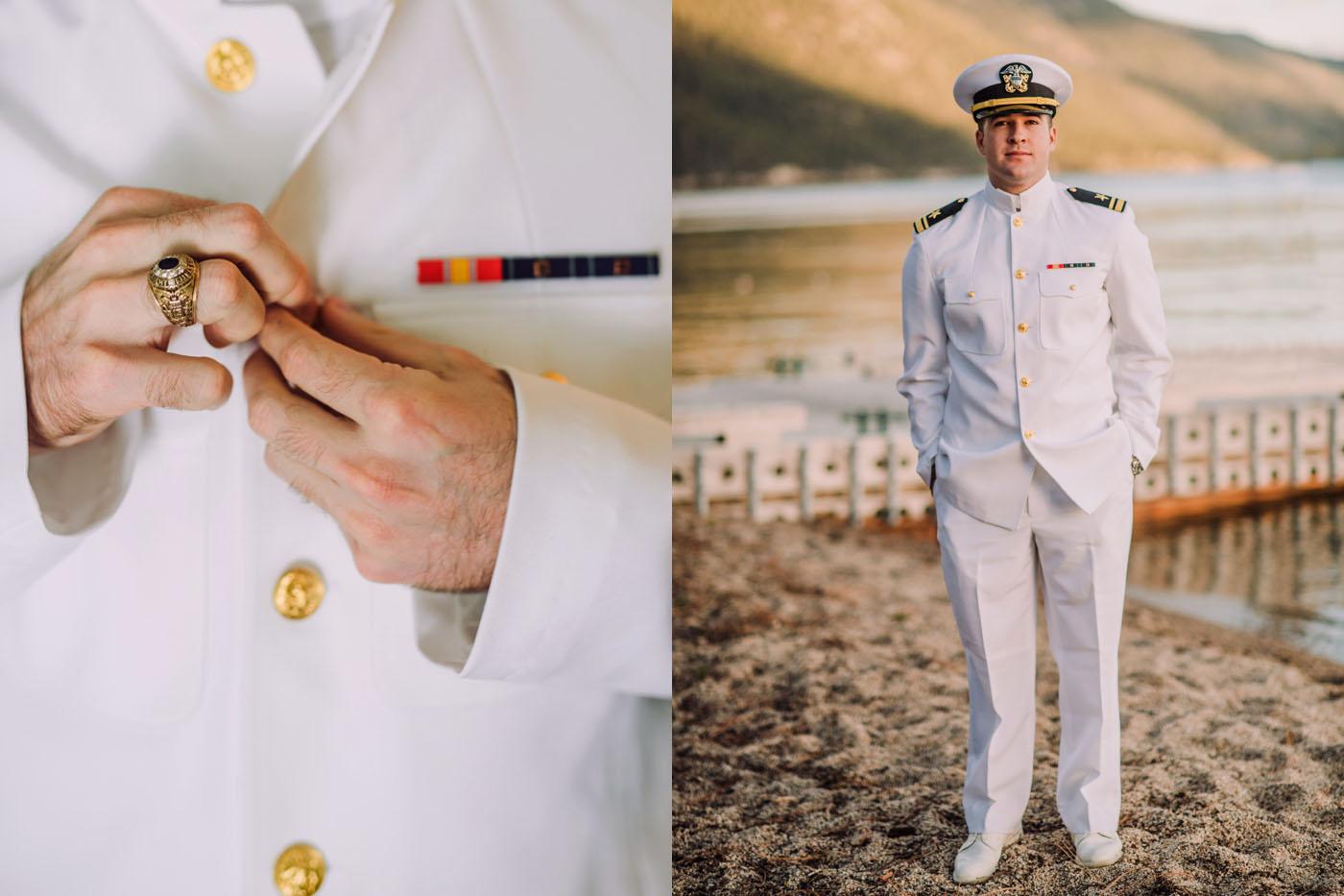 tahoe groom in military uniform on wedding day