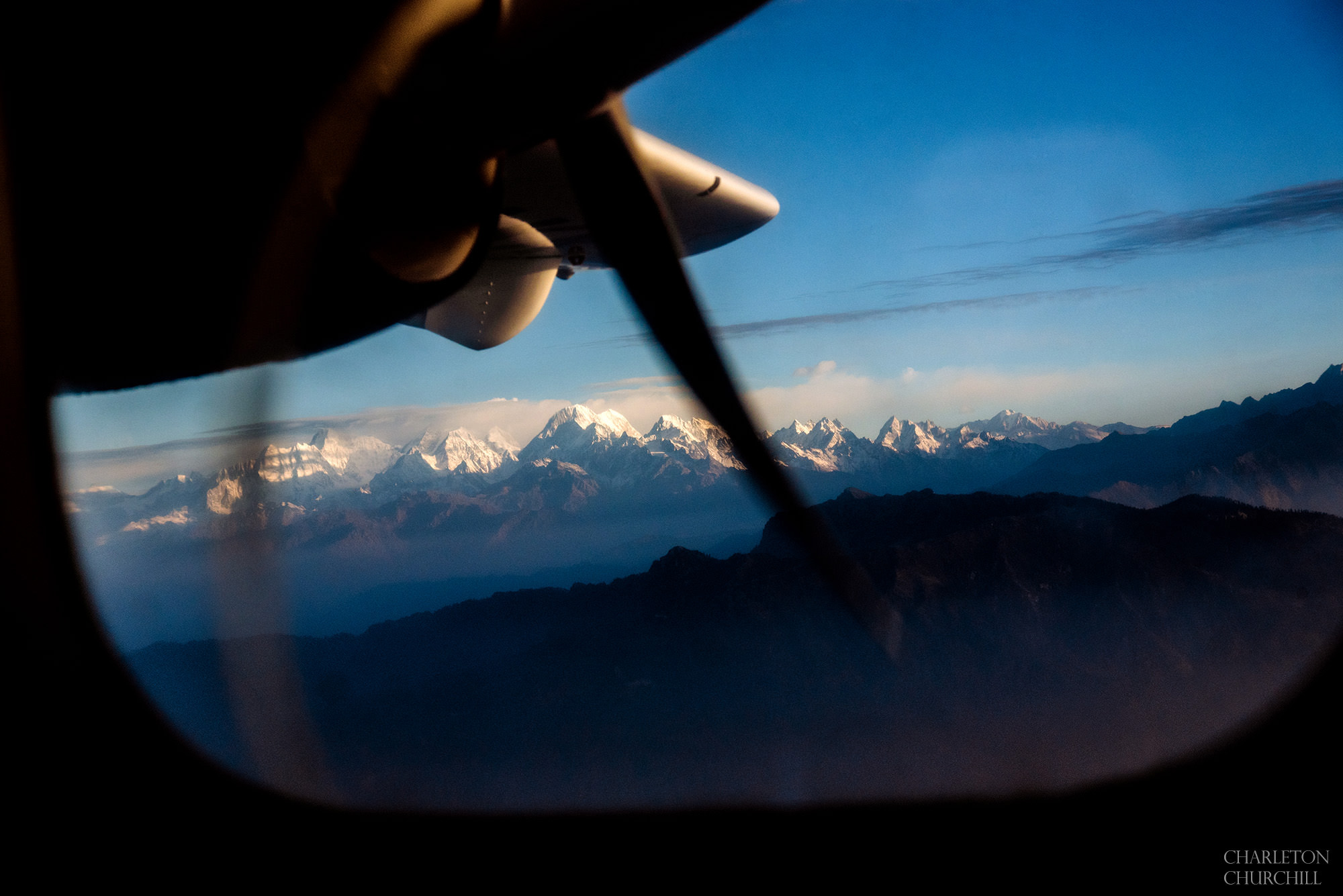 flight to Lukla airport with view of himalayas