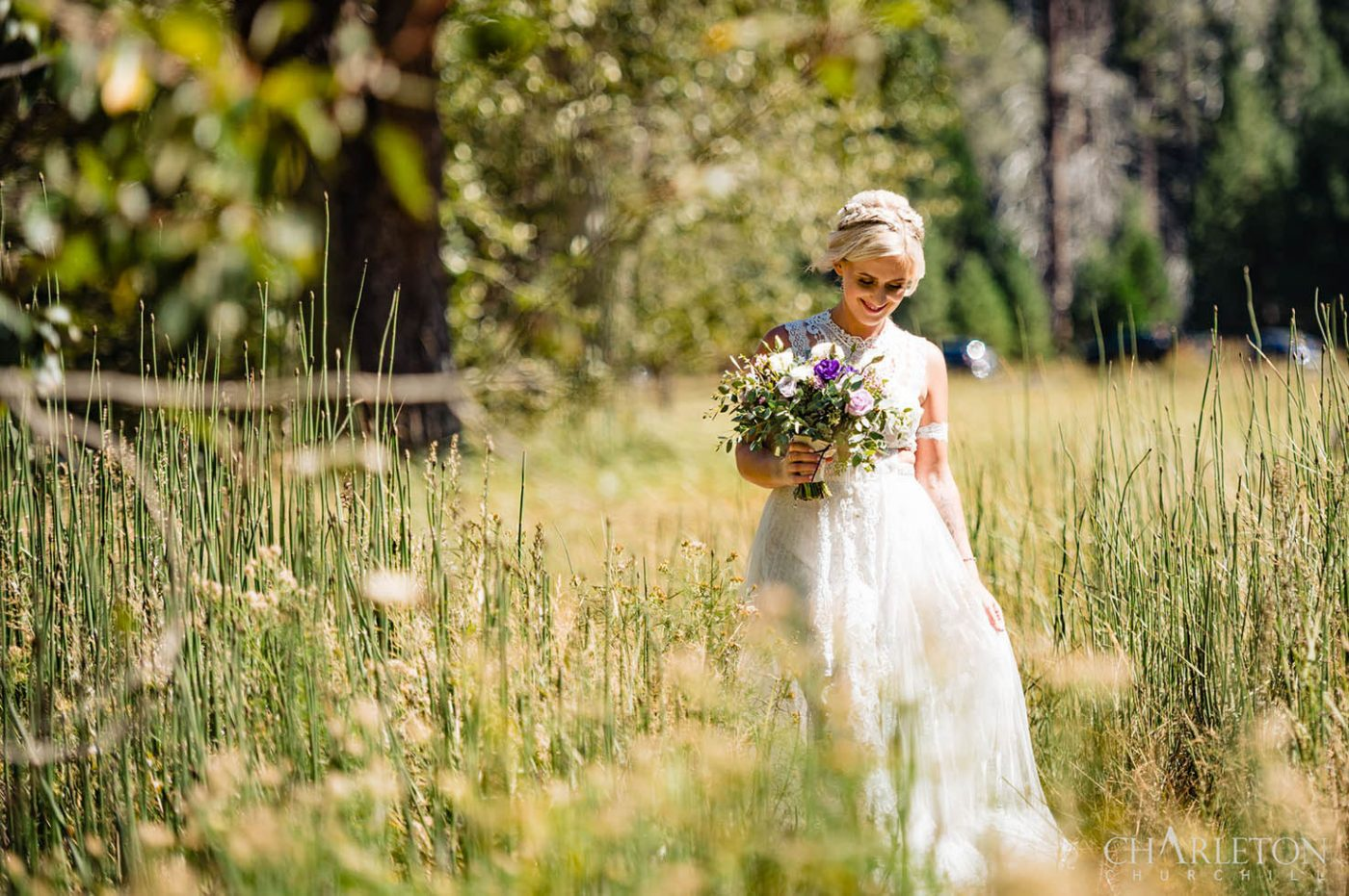 bride in yosemite meadows