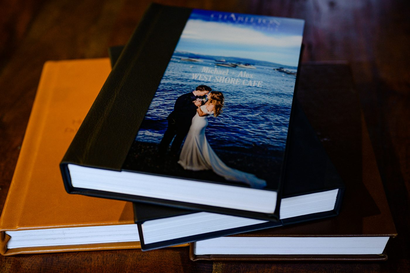 wedding album leather and acrylic for the West Shore Cafe photographer, charleton churchill