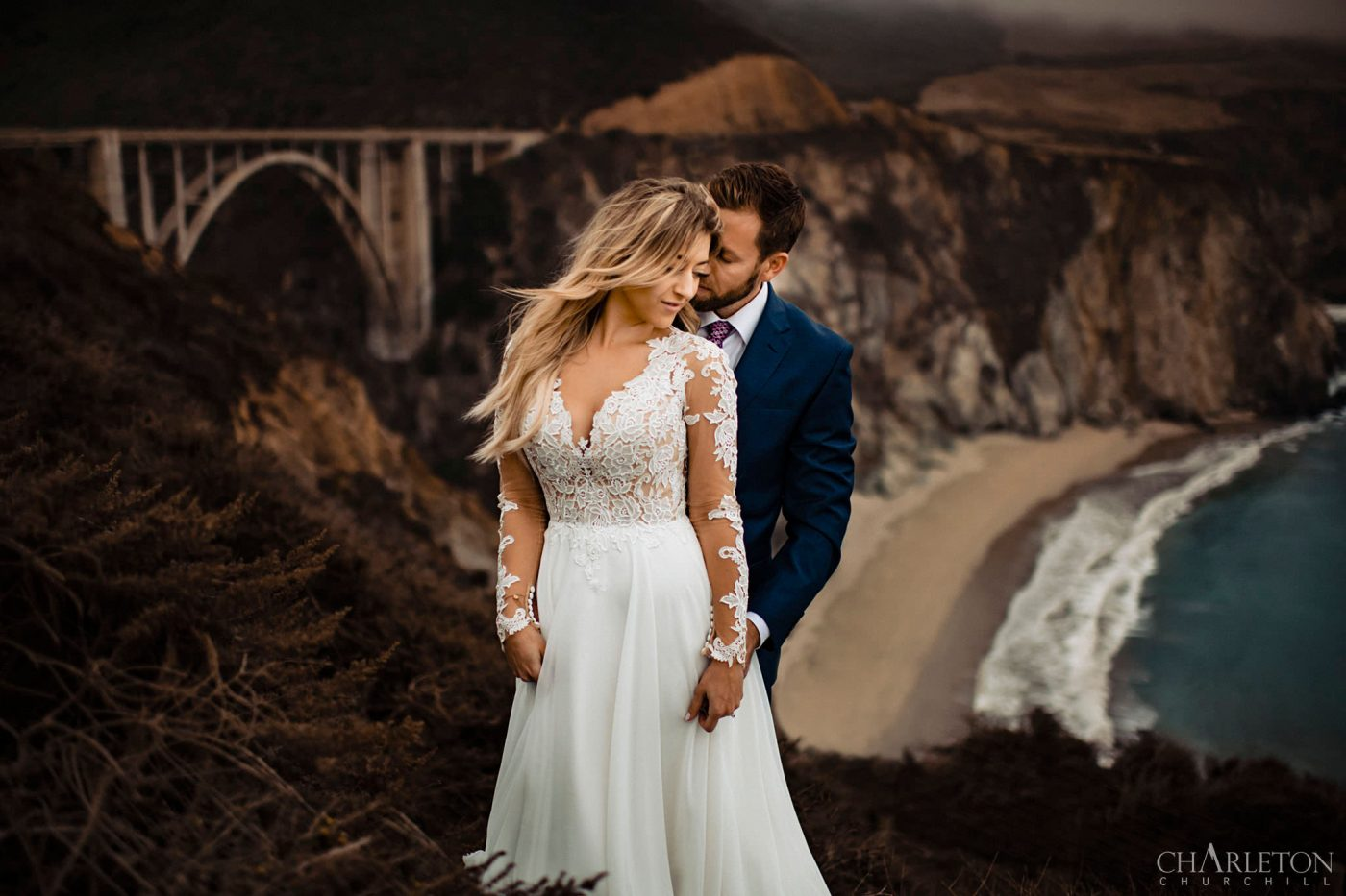 big sur elopement photographer with adventure wedding couple eloping at bixby bridge