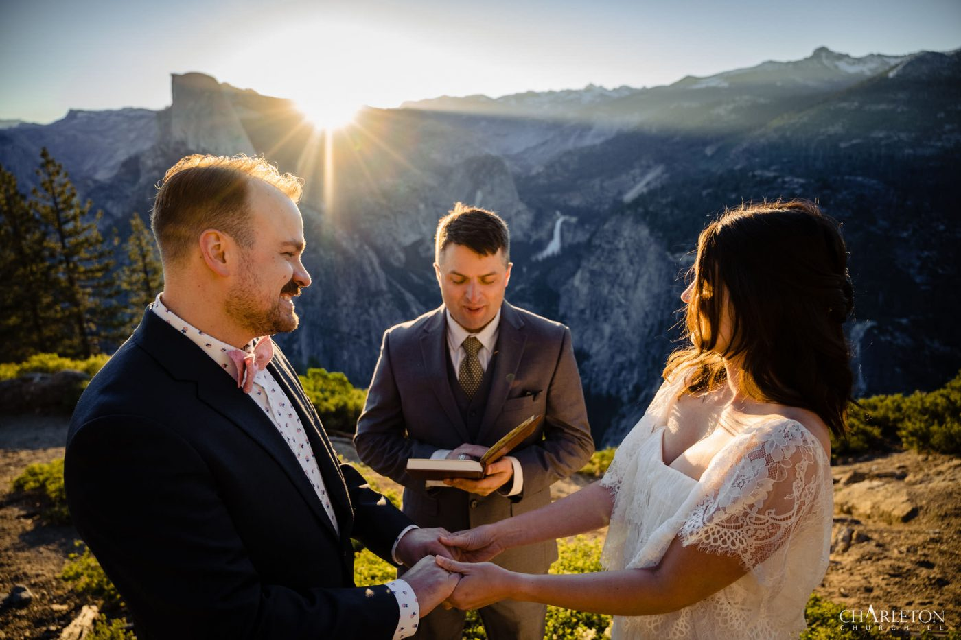 yosemite wedding ceremony at sunrise near glacier point in yosemite
