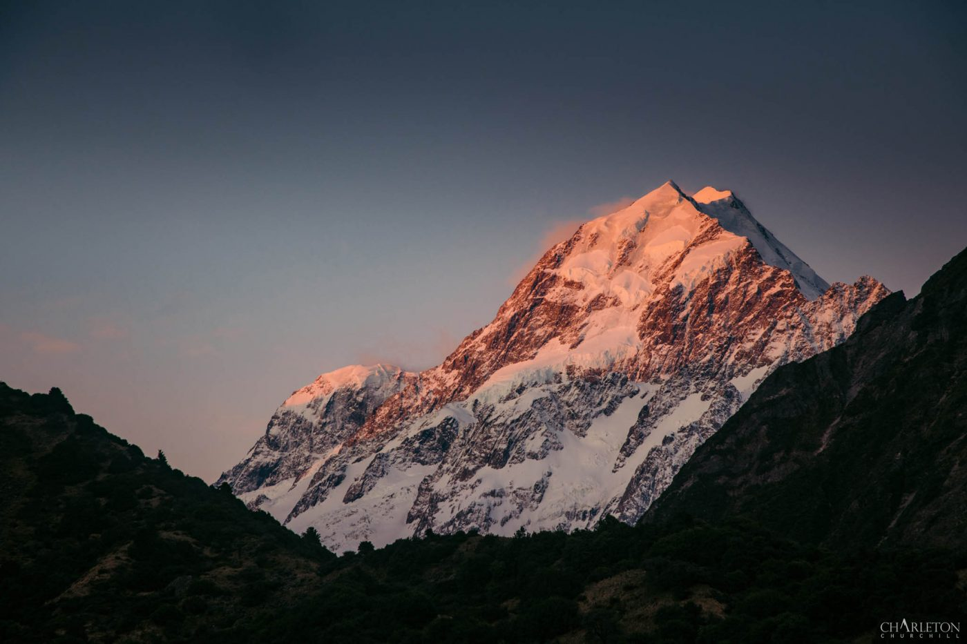 Mt. Cook during sunset and alpine light | Adventure photographer Charleton Churchill