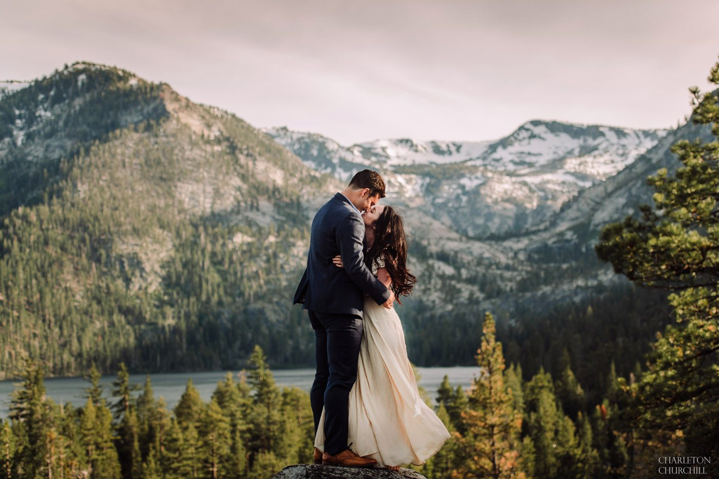 epic wedding photo in Lake Tahoe California adventure couple in the mountains