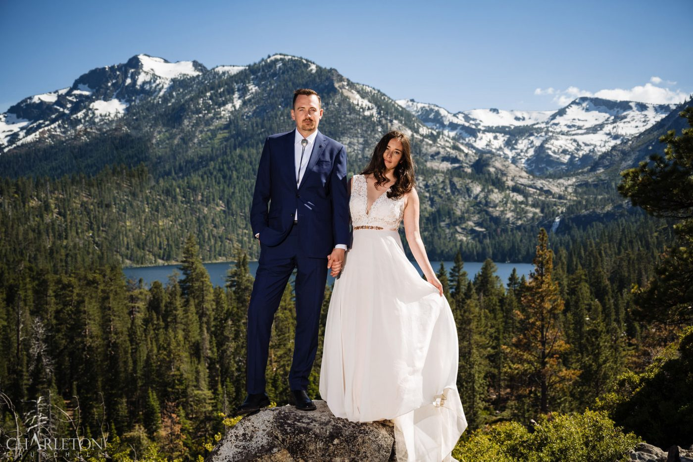 tahoe elopements with snow in the mountains
