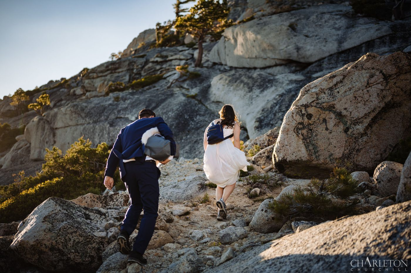 wedding couple hiking in lake tahoe for their elopement pictures