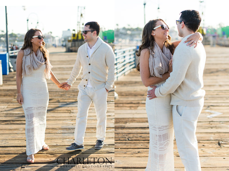 fashionable southern California couple on dock early morning