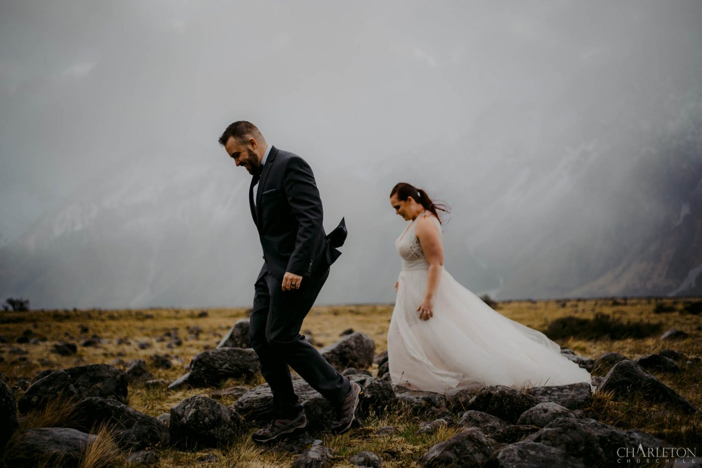 mount cook wedding photography during winter storm