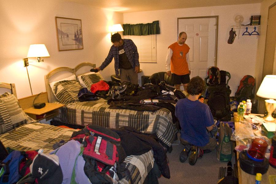 Our Team preparing for the Mt. Rainier climb the Next Day!