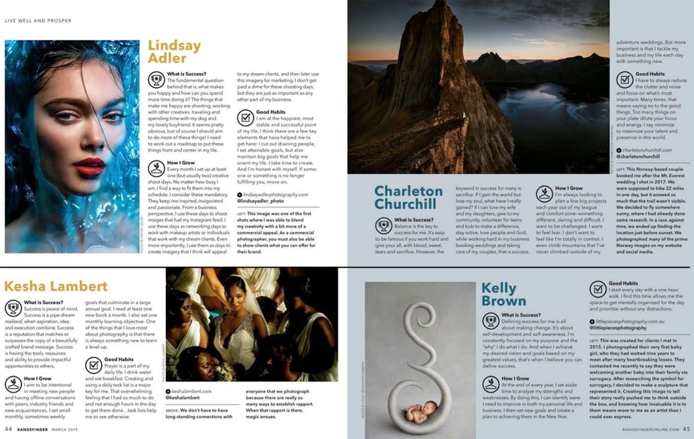 magazine feature of charleton in 2019 march issue of rangefinder mag photo