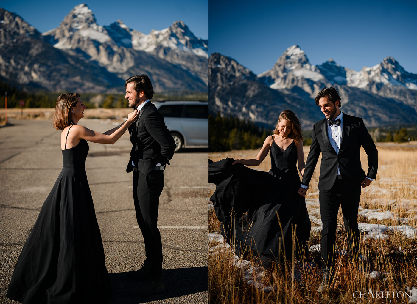 couple getting ready in jackson hole wy