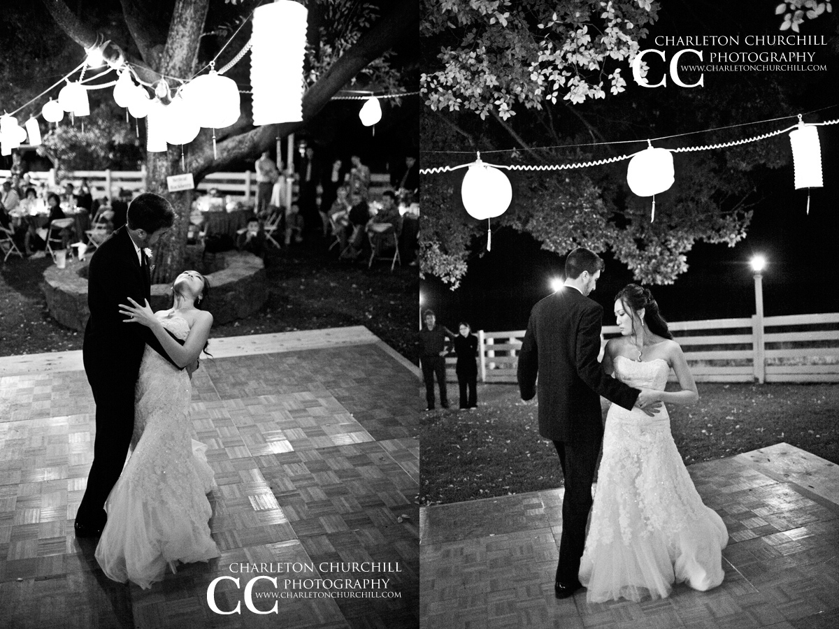 romantic dancing couple at the Larraine winery in Vallecito for a wedding event