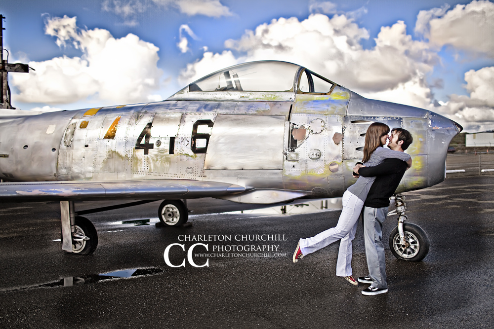 Engagement Session Old Airplane