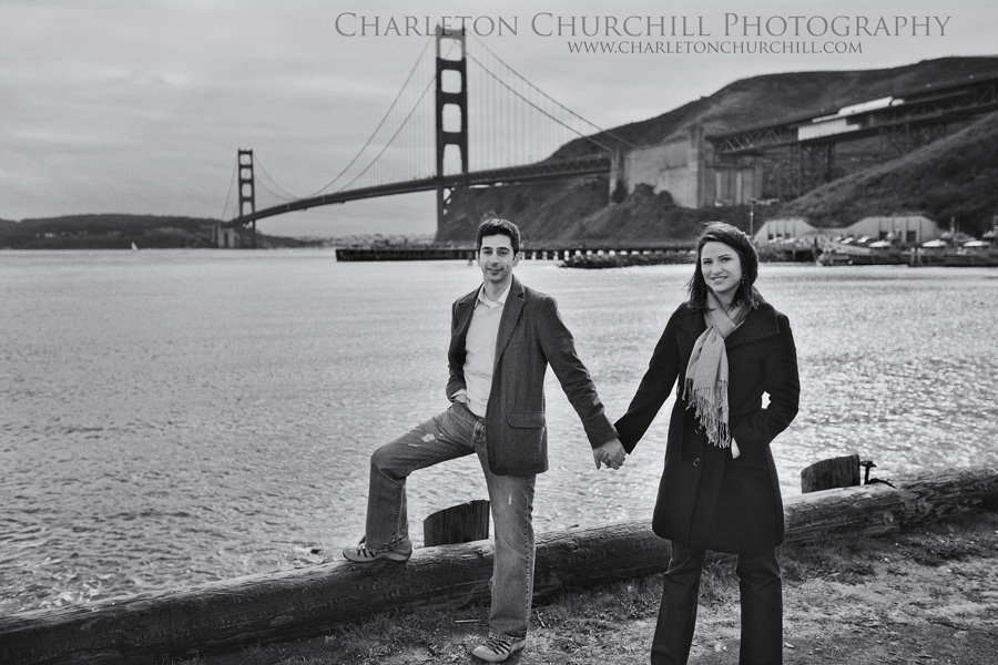 San Francisco Golden Gate bridge engaged couple