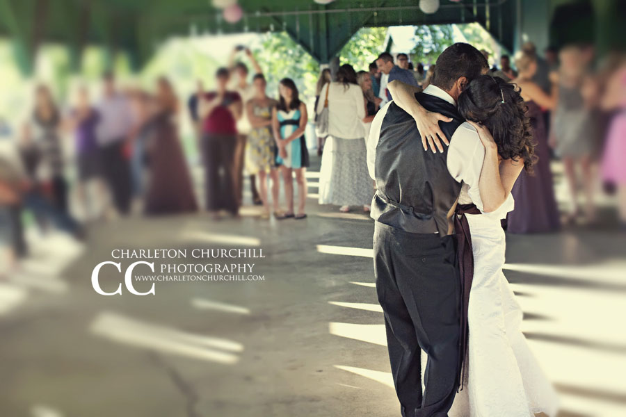 wedding couple dancing at Amador County Italian picnic grounds