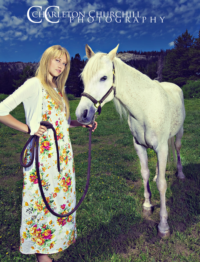Senior Portrait with White Horse and flash