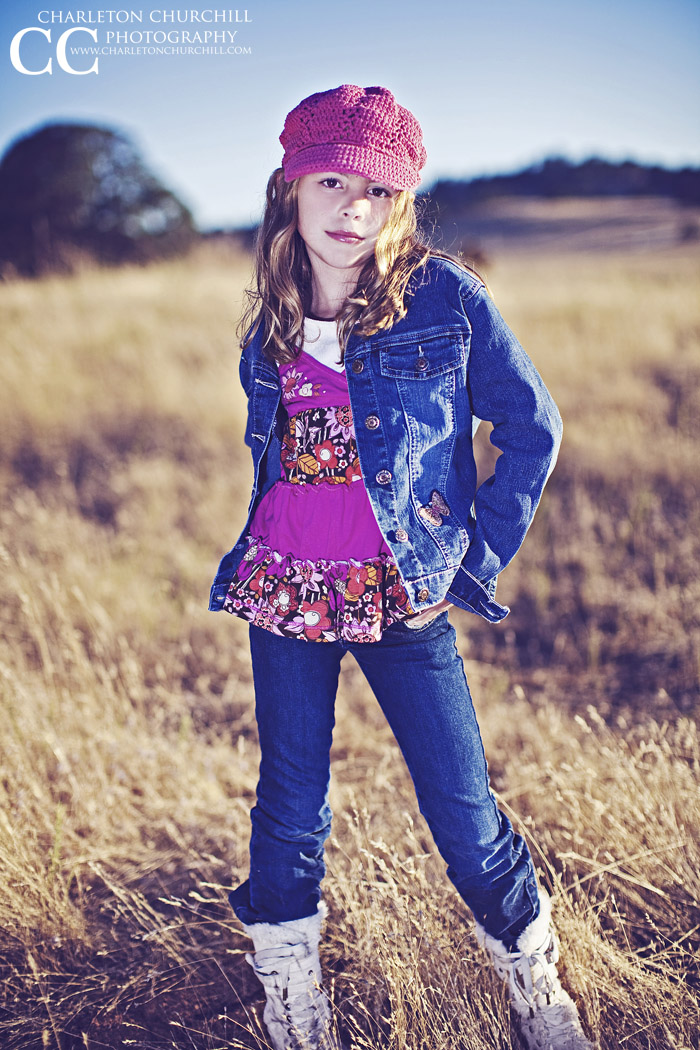 kids photography in field blue jeans