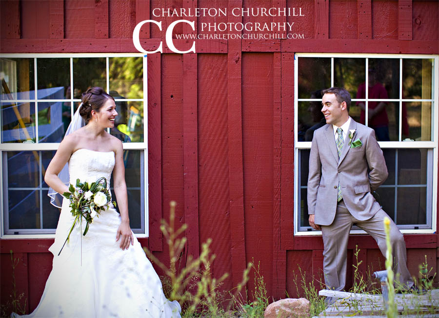 bride groom at farm windows