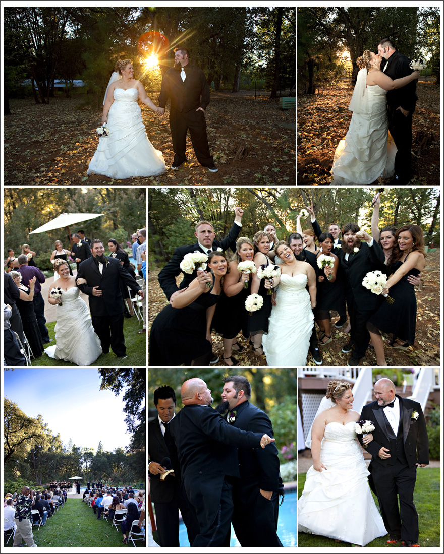 Bride and groom and wedding party at Amador County outdoor wedding place