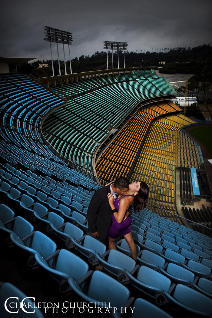 LA Dodger Stadium engagement session